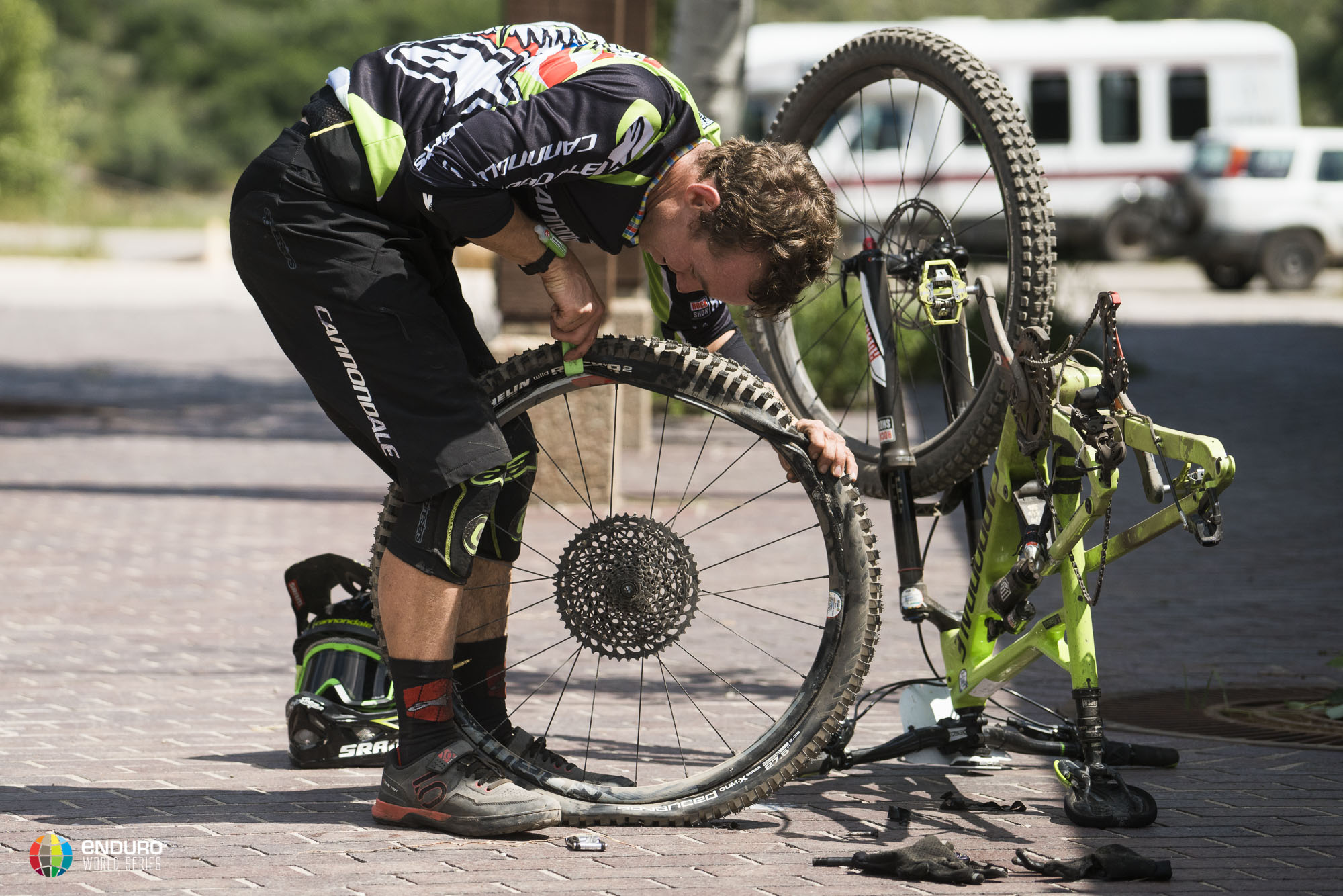 Jerome quickly to it on the bike repairs