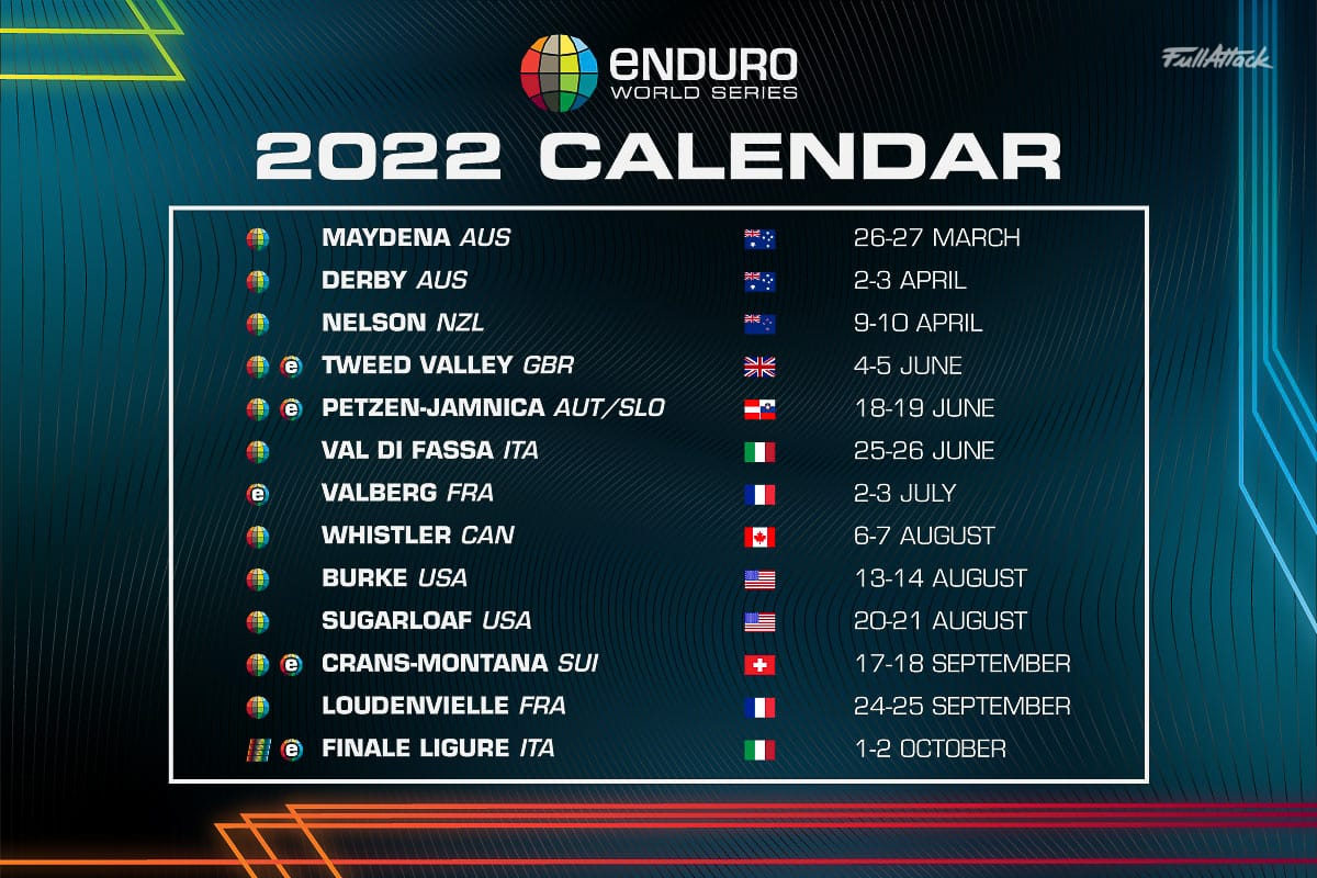 Calendrier Serie A 2022 11 EWS & 4 EWS E au calendrier Enduro World Series 2022 !